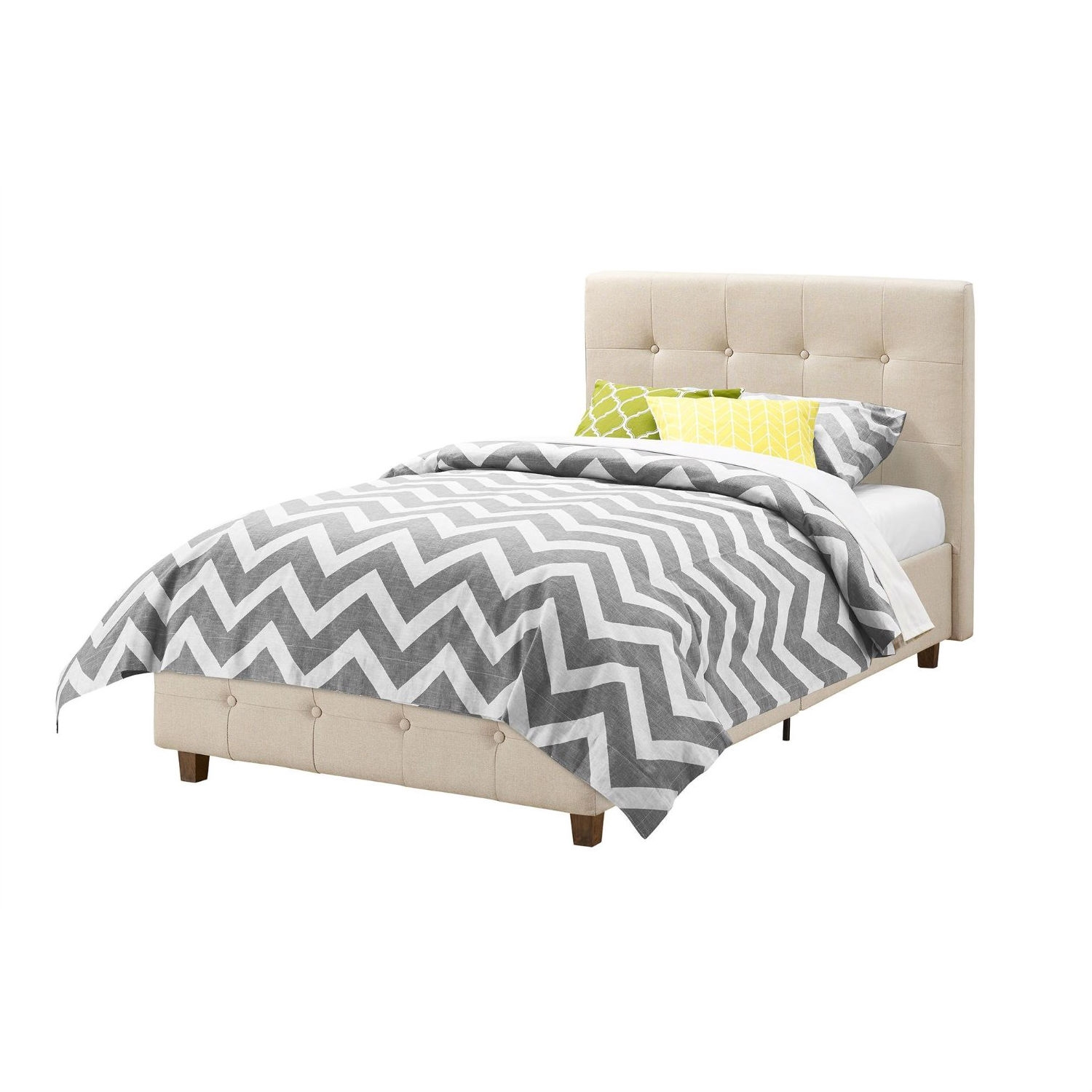 Twin Size Tan Linen Upholstered Platform Bed Frame With Button Tufted Headboard